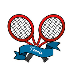 Emblem tennis game icon vector