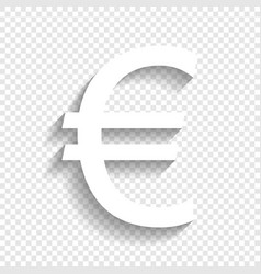 Euro sign white icon with soft shadow on vector