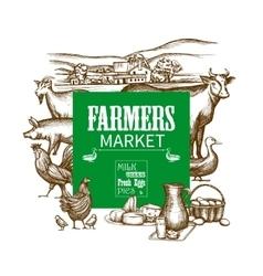Farm market frame vector