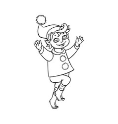 Flat elf boy dancing or jumping isolated vector