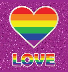 Gay pride poster with rainbow spectrum heart vector