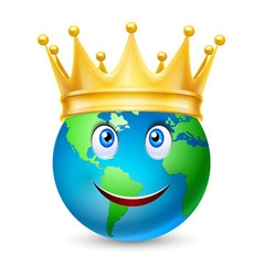 Golden crown on the globe vector image vector image
