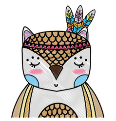 Grated cute owl animal with feathers decoration vector