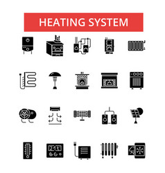 heating system thin line icons vector image