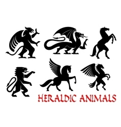 Heraldic mythical animals emblems vector