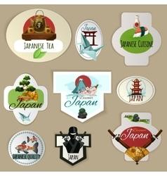 Japan emblems set vector