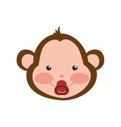 Monkey cute animal little icon graphic vector