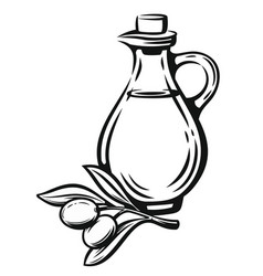 Olive with leaves and bottle vector