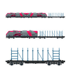 Pink locomotive with railway platform vector