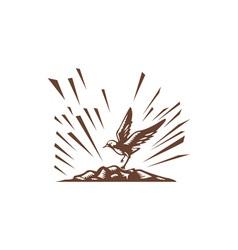 Plover landing island woodcut vector