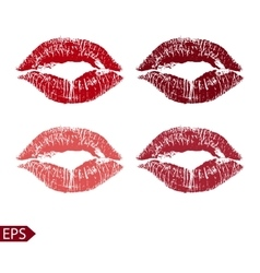 Print set of pink lips on a vector image vector image