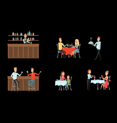 Set of people in restaurant and at the bar flat vector
