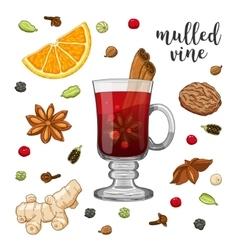 Set on white with mulled wine vector