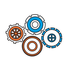 Silhouette color sections of set cog wheel pinions vector