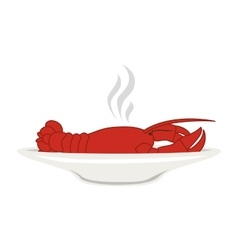 Silhouette colorful dish with hot lobster vector