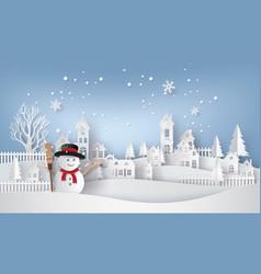 Snow man in the village vector