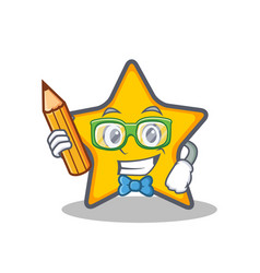 Student with pencil star character cartoon style vector