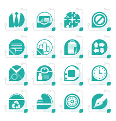 stylized simple business and office icons vector image vector image