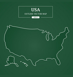 usa map outline border on green background vector image vector image