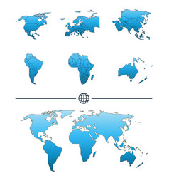 world map and continents vector image