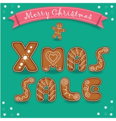 Xmas sale Merry Christmas Gingerbreads font vector image vector image