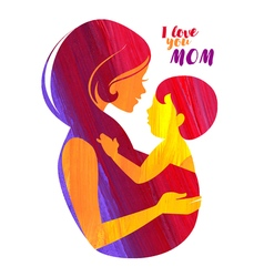 Acrylic beautiful mother silhouette with baby vector