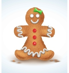 Gingerbread man decorated colored icing holiday vector