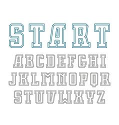 Double contour serif font in sport style vector image