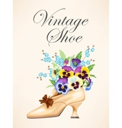 Vintage shoe with pansies vector image