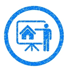 Realtor presentation rounded icon rubber stamp vector
