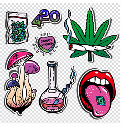 Different illegal drugs types fashion patch set vector