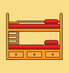 Bunk bed with stairs wooden bunk decker bed vector