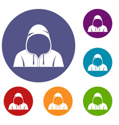 Hood icons set vector