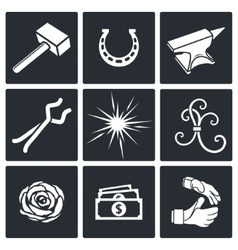 Forge icon set vector