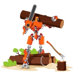 Robot Woodcutter Character vector image