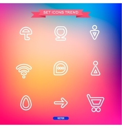 Icons set trend outline symbol web vector