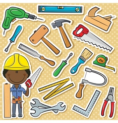 African-american carpenter with tools vector