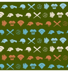 Seamless background with baseball icons vector