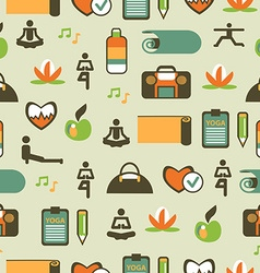 Seamless pattern with yoga equipment vector