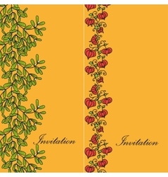 Two design card with mistletoe and physalis vector