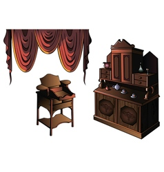 Set of furniture with curtain vector
