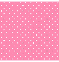 Pink white star polka dots background vector