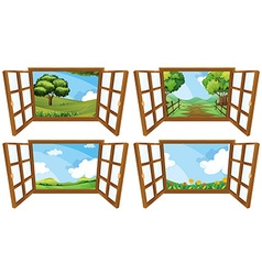 Four scenes from window vector