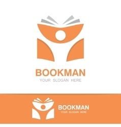 Open book and man logo education logo vector