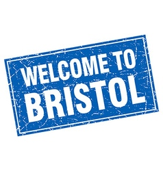 Bristol blue square grunge welcome to stamp vector