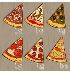 Pizza on a wooden background hand drawn vector