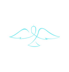 Abstract dove wings line art symbol graphic vector