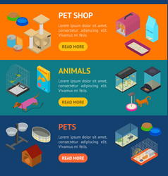 accessories for domestic pets banner horizontal vector image