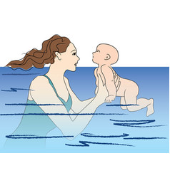 Baby swims swimming lesson vector
