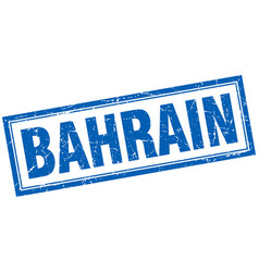 Bahrain blue square grunge stamp on white vector